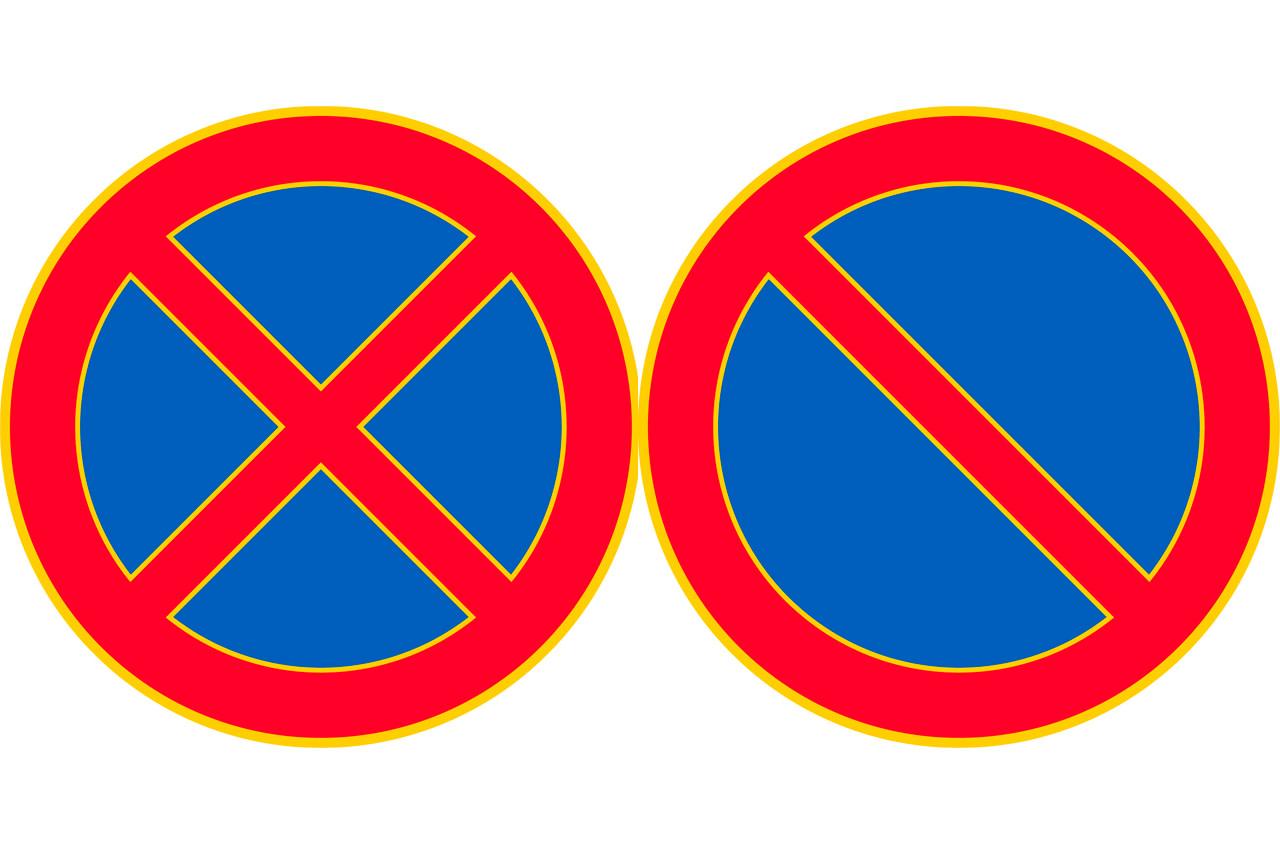 Punareunaiset ympyrät, jossa ensimmäisessä punainen ruksi ympyrän päällä, toisessa punainen viiva ympyrän yli.