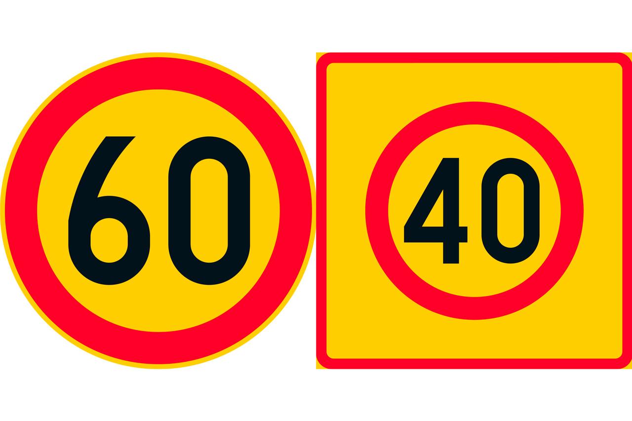 Ympyrän muotoinen liikennemerkki, jossa numero sisällä ja numero neliön muotoisessa merkissä ympysrän sisällä.