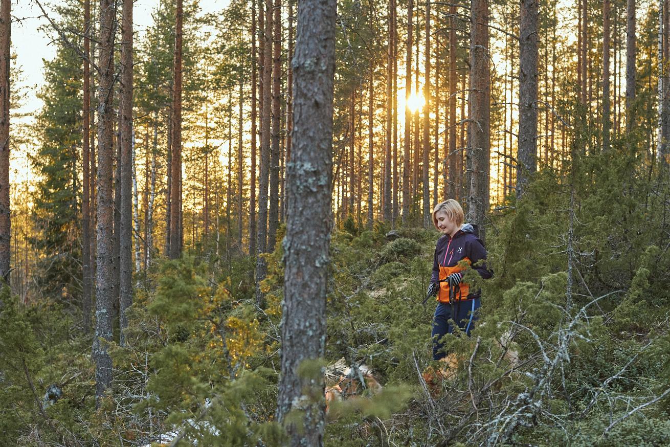 Jonna Martikainen koiransa kanssa metsässä